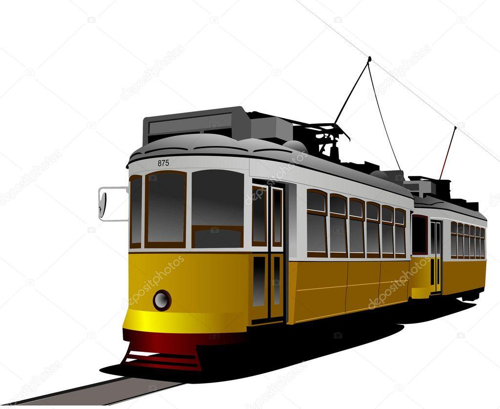 市内の交通機関ビンテージの路面電車スタイルベクトル イラスト