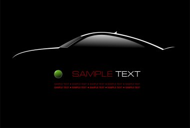 White silhouette of car sedan on black background illust