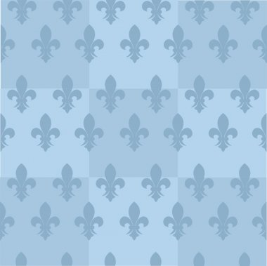 Blue cover for brochure with seamless background and royal lily.