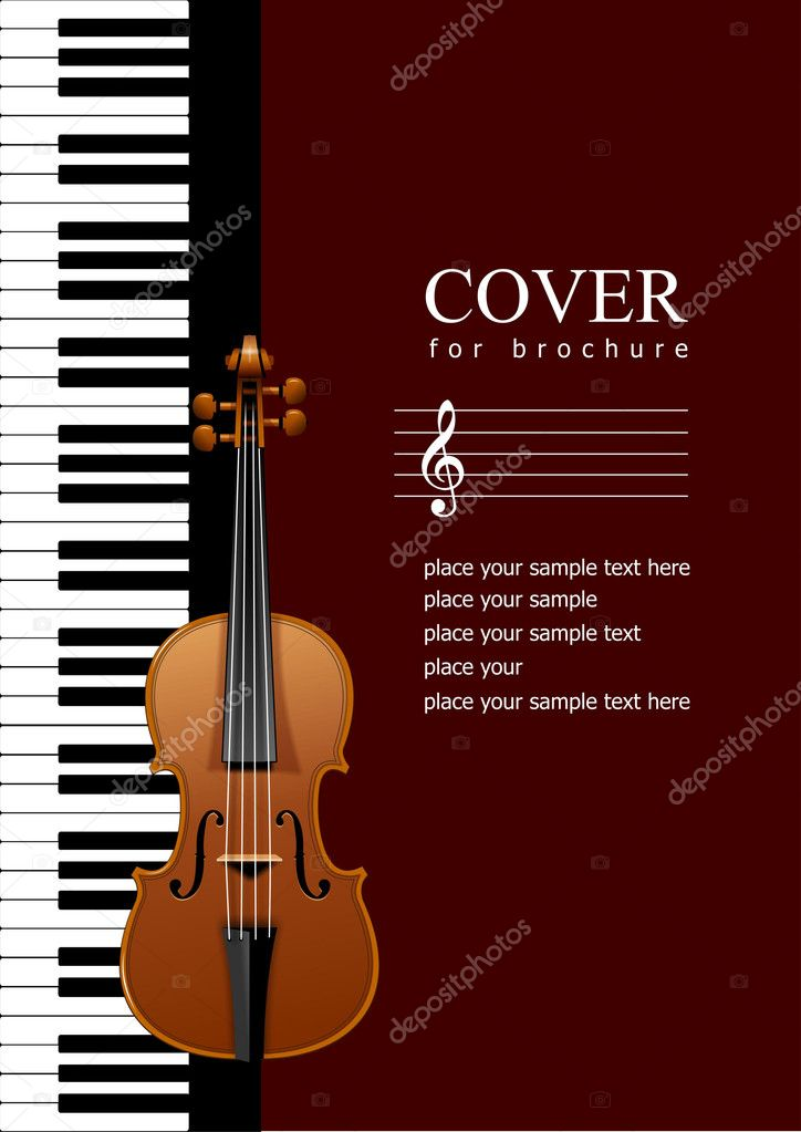 Cover for brochure with Piano with violin images illustr