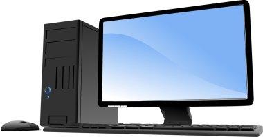 illustration of desktop PC or server station. Mac.