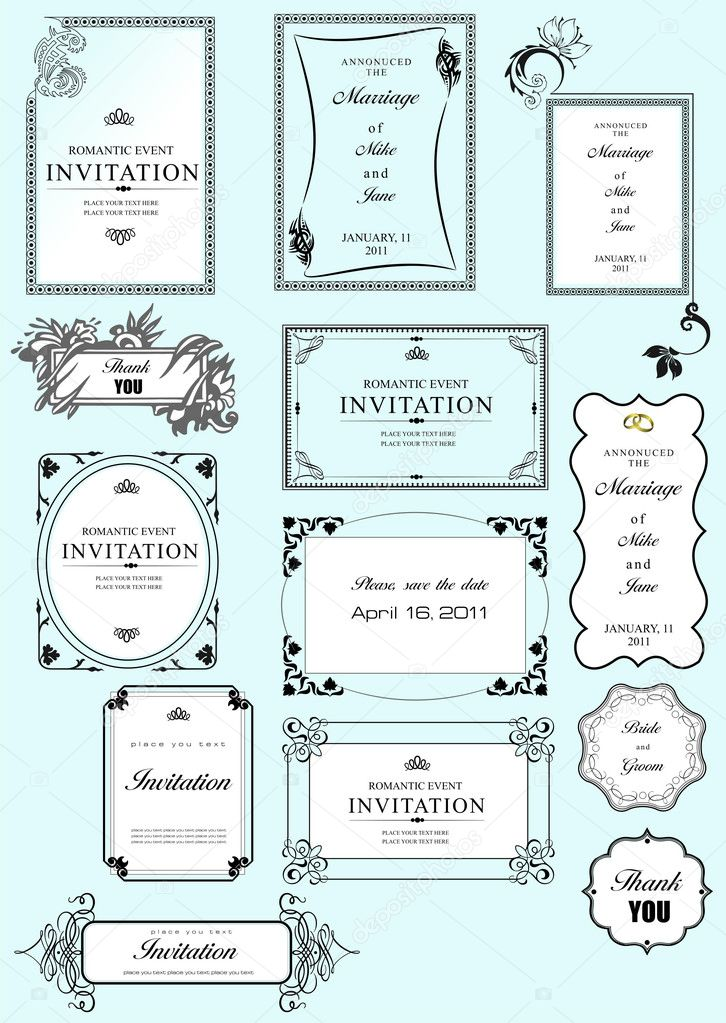 Set of ornate frames and ornaments with sample text. Perf