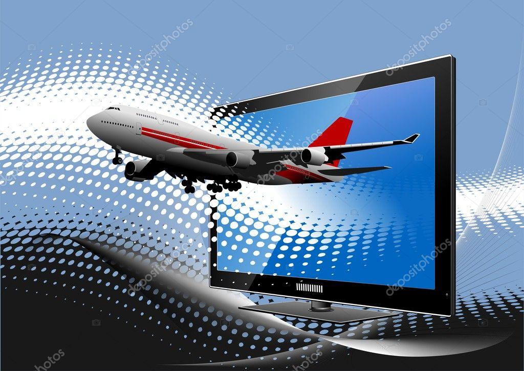 fond pointill bleu avec cran d 39 ordinateur plat avec l 39 avion de ligne di photographie. Black Bedroom Furniture Sets. Home Design Ideas
