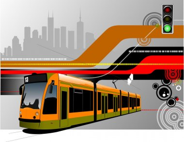 Abstract hi-tech background with tram image. Vector illustration