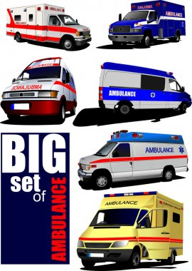 Big set of Modern ambulance va. Colored vector illustration