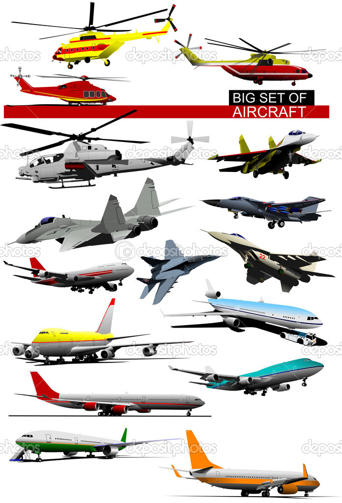 Big set of aircraft. Vector illustration
