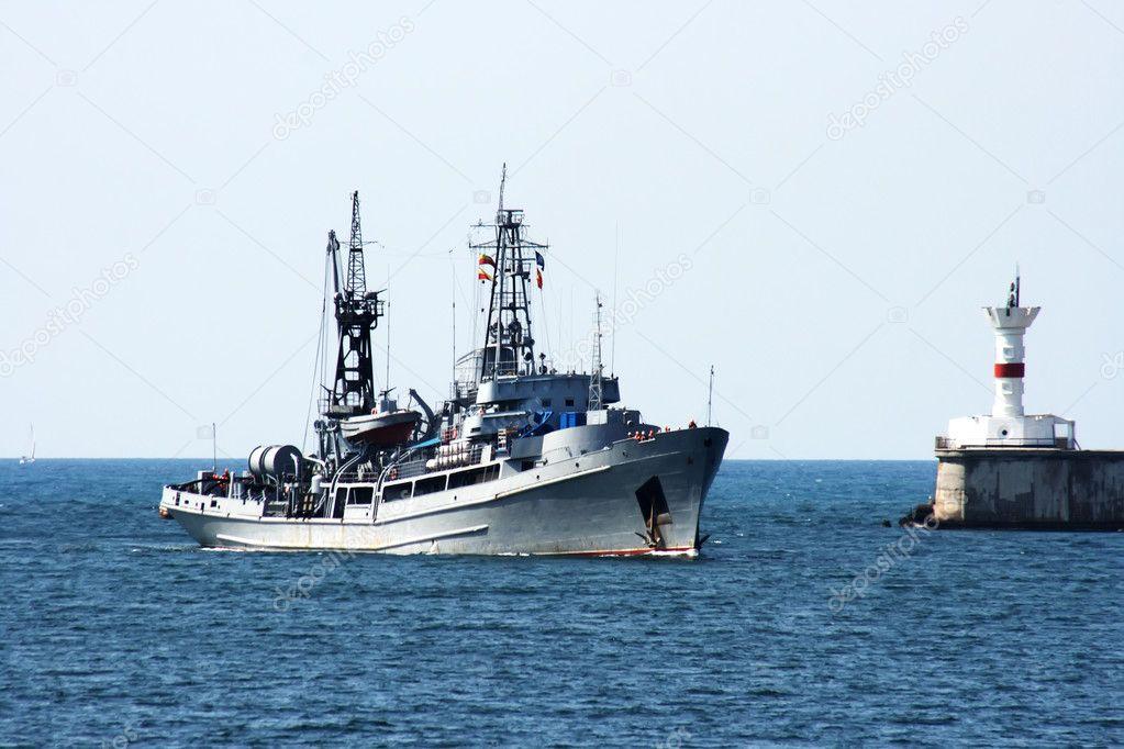 Russian military ship at sea