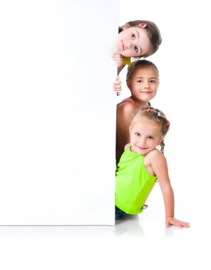 Cute little girls isolated