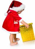 Fényképek kislány santa kalap bemutatja