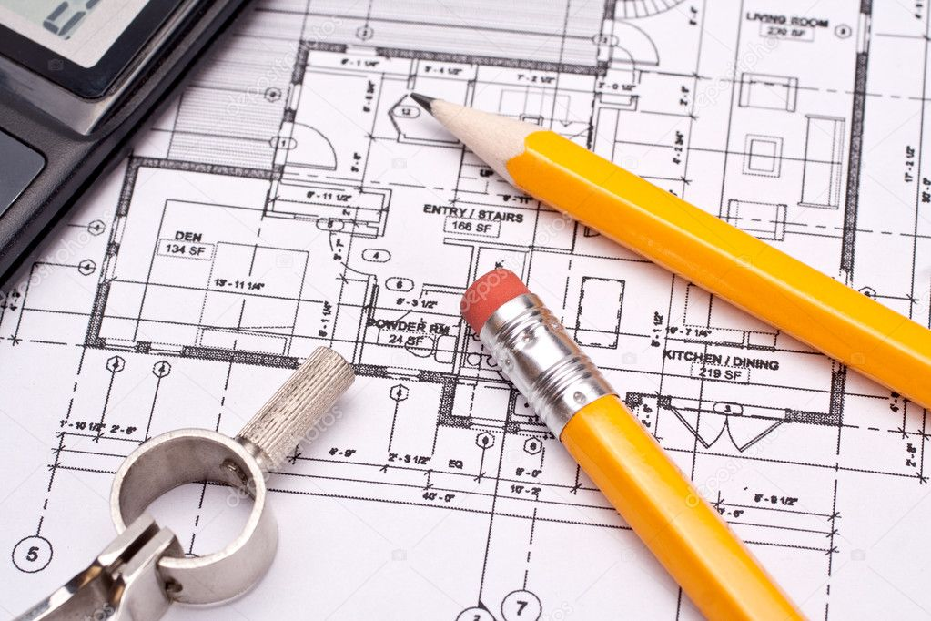 Engineering and architecture drawings with pencil stock vector