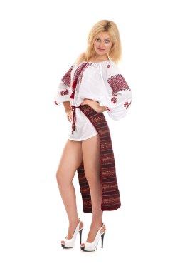 Woman wears Ukrainian national dress