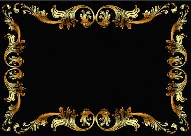 Background frame with vegetable gold(en) pattern