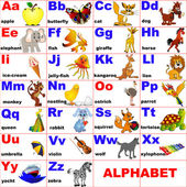 Fotografie Animals placed on letter of the alphabet