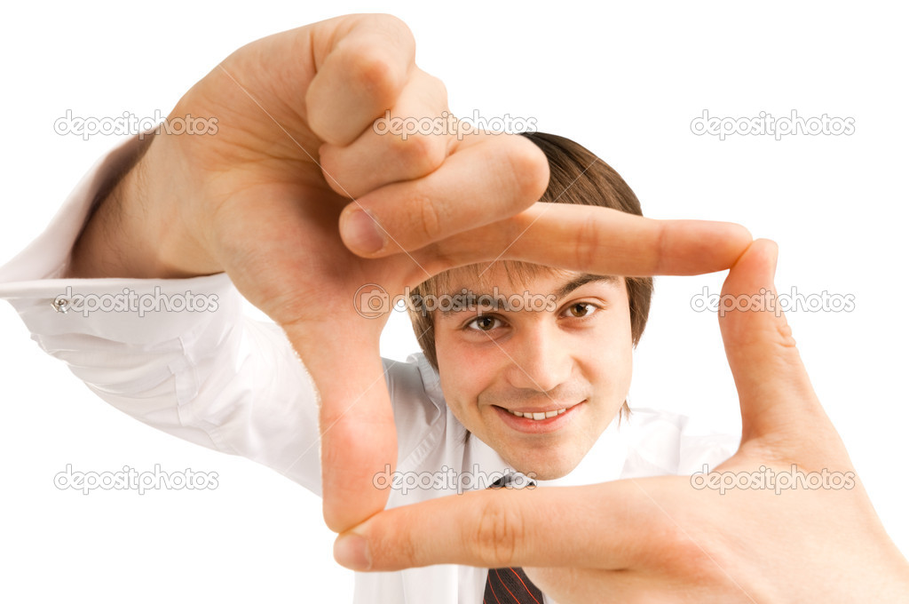 empresario encuadre con sus dedos — Fotos de Stock © Yarygin #5418724