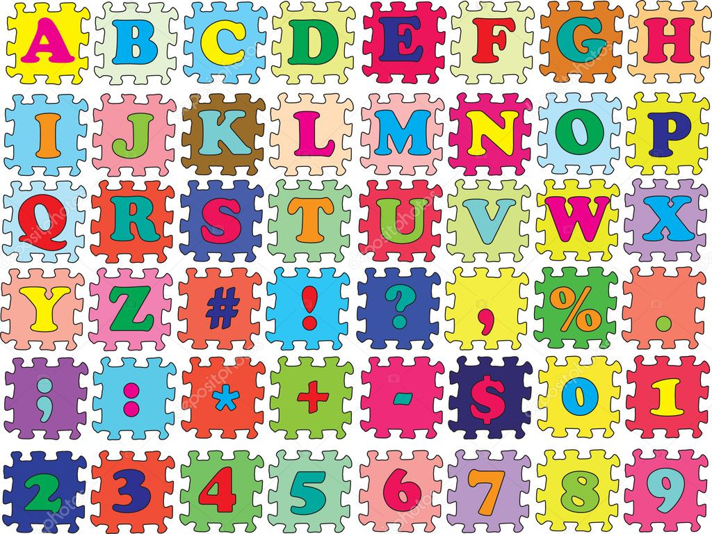 ABC vector puzzle color