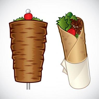 Vector illustration of döner kebab and a kebab wrap stock vector