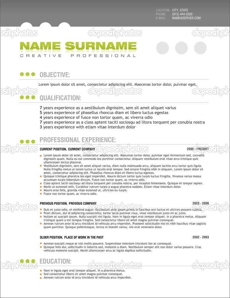 Clean Professional Resume Layout Template Stock Vector Vittore
