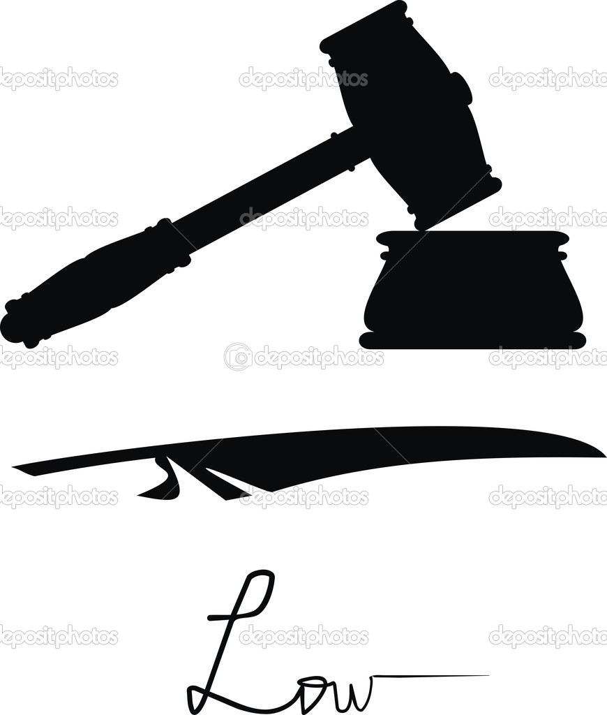 Symbols Of Justice And Low Gavel And Feather Stock Vector