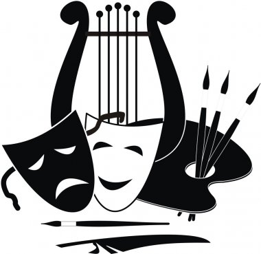 Lyre, palette and masks - symbols of music. arts and theater - isolated black illustration on white background.