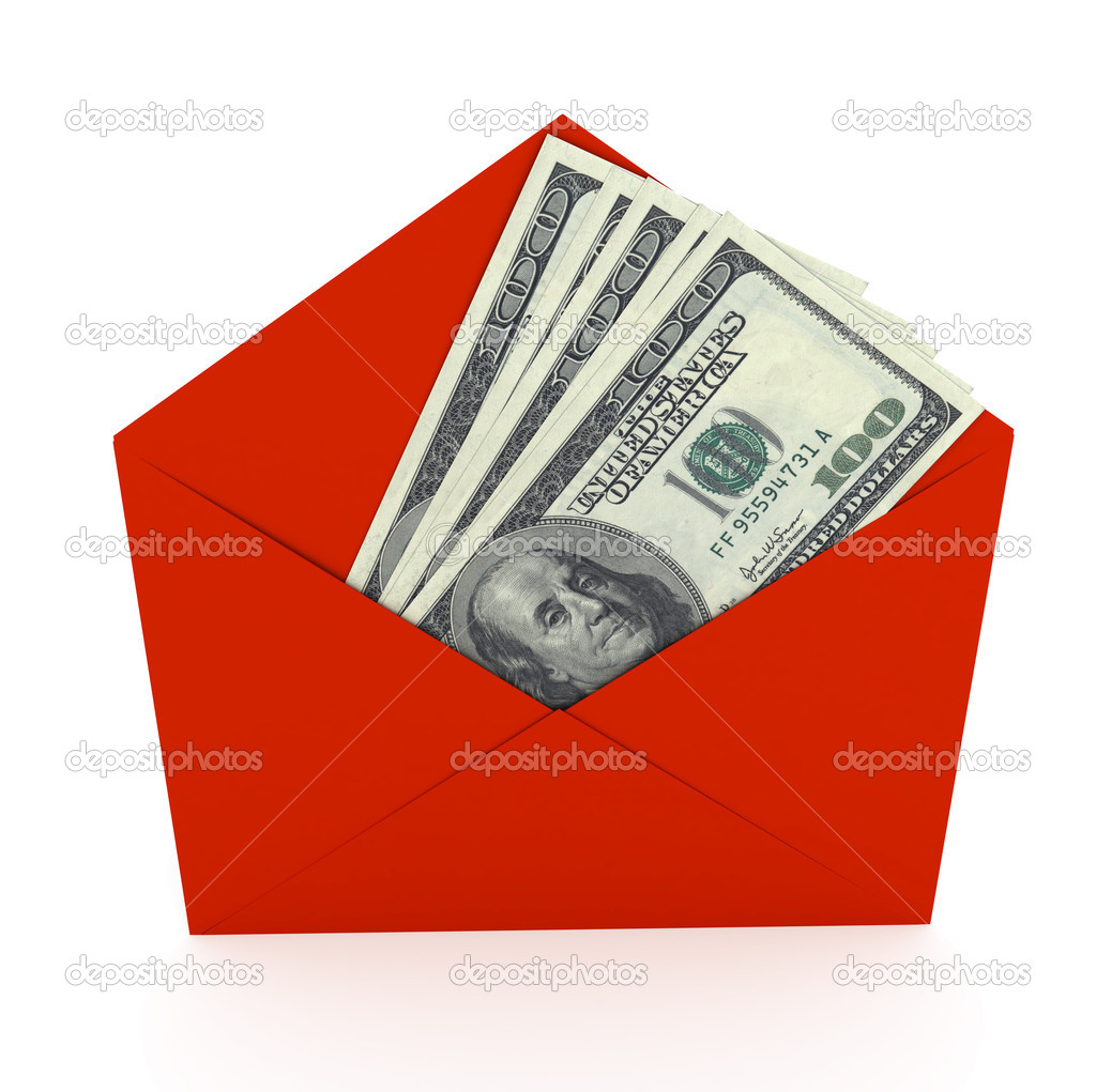 Dollars sign in envelope over white background