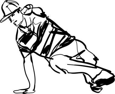 Bboy guy dancing breakdance black and white