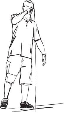 Black and white sketch of rap singer