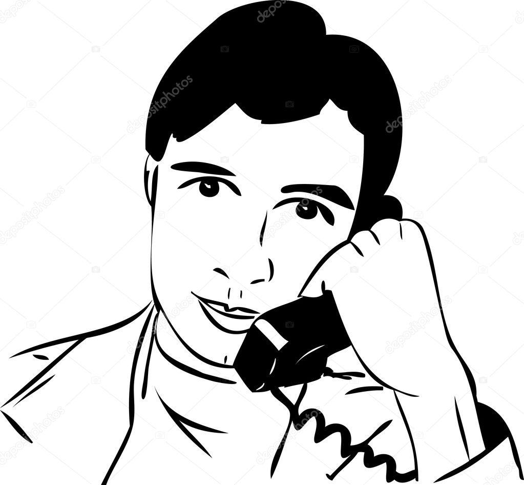 bosquejo de un tipo hablando por teléfono — Vector de stock ...