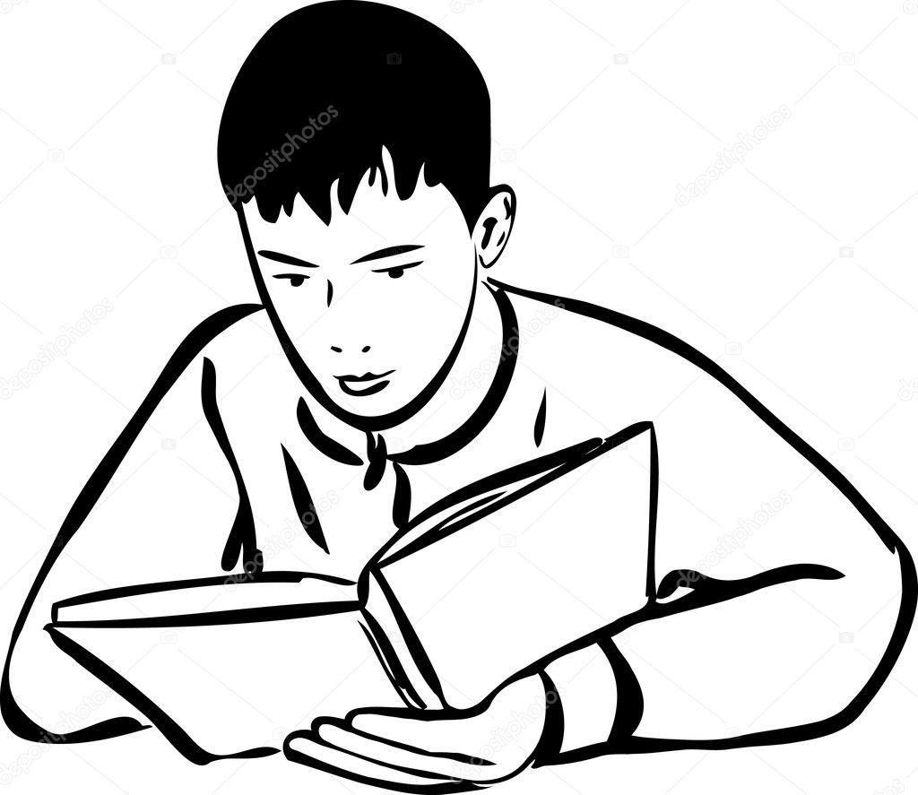 desenho menino lendo um esboço do livro vetor de stock artex67