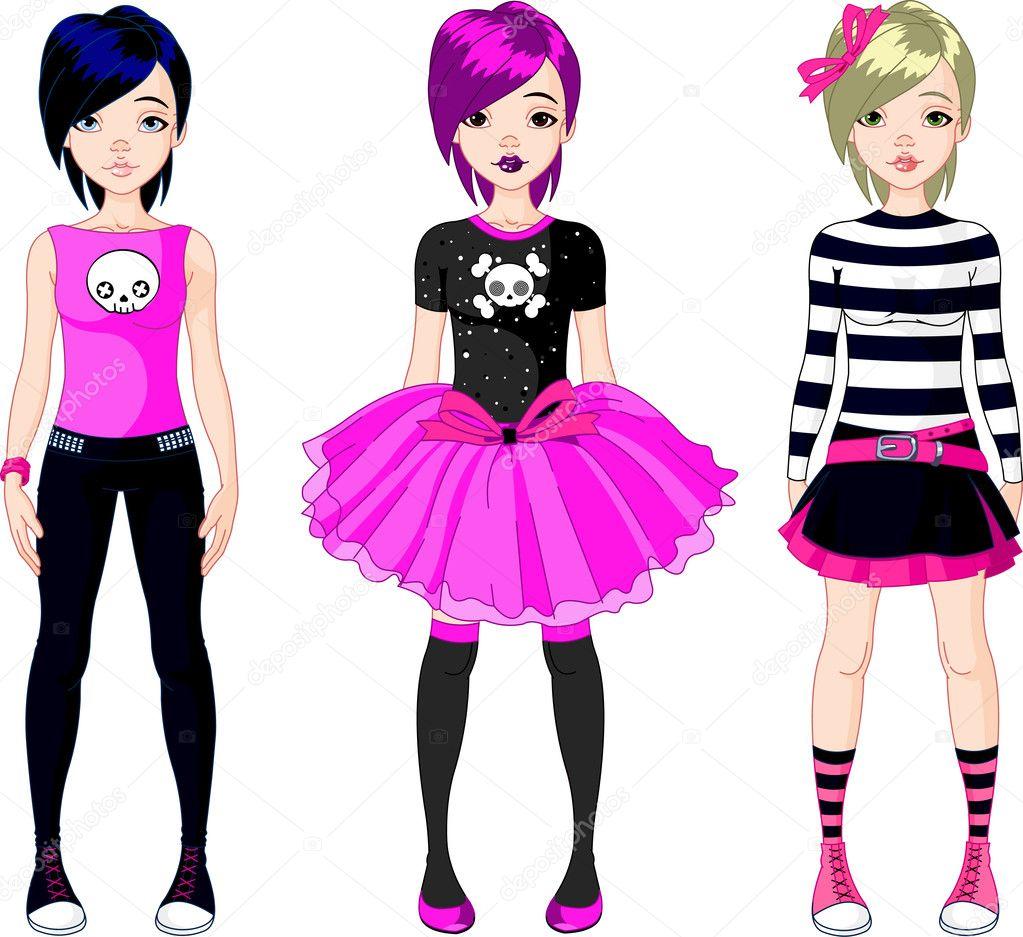 tres chicas de estilo emo — Vector de stock © Dazdraperma #5558895