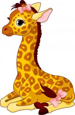 Illustration of little cute giraffe Calf with bow clip art vector