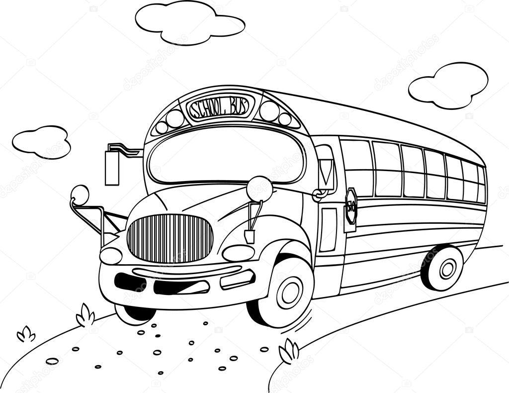 coloring page of a school bus vector by dazdraperma