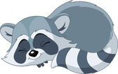 Photo Funny sleeping cartoon raccoon