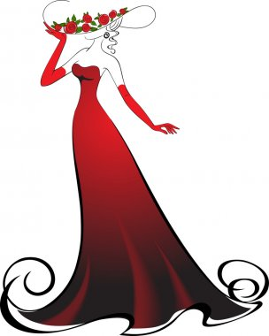 Woman in gloves and an elegant long red dress stock vector