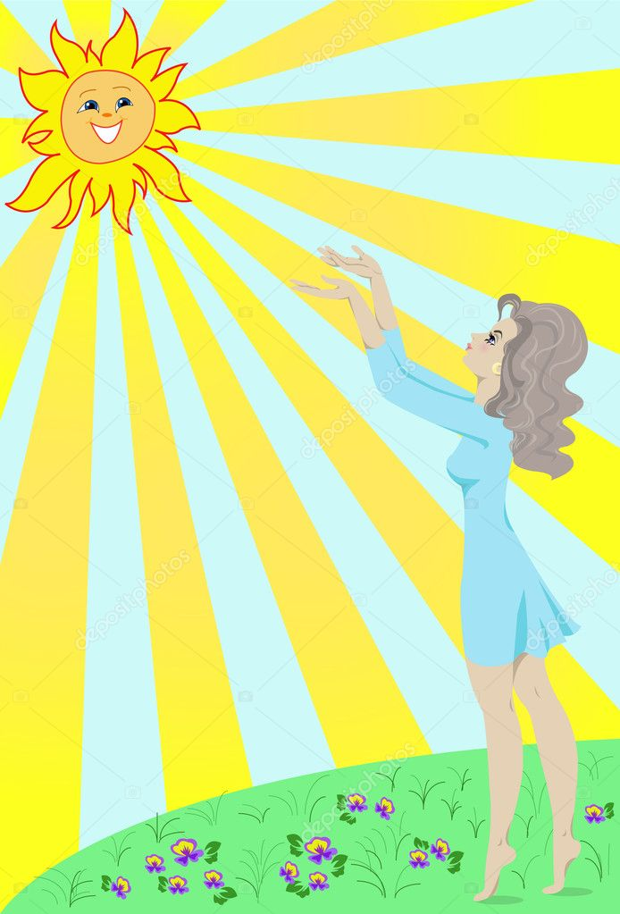 Girl stretches towards the sun