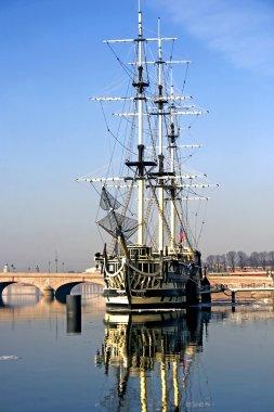 A sailing ship Fun anchored in Neva river