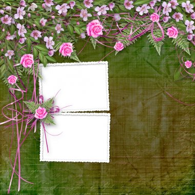 Writing abstract background with frame and floral beautiful bouq
