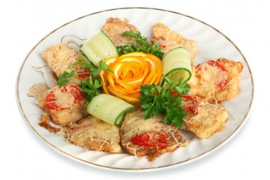 Meat snack with cheese and tomatoes, decorated with a rose from