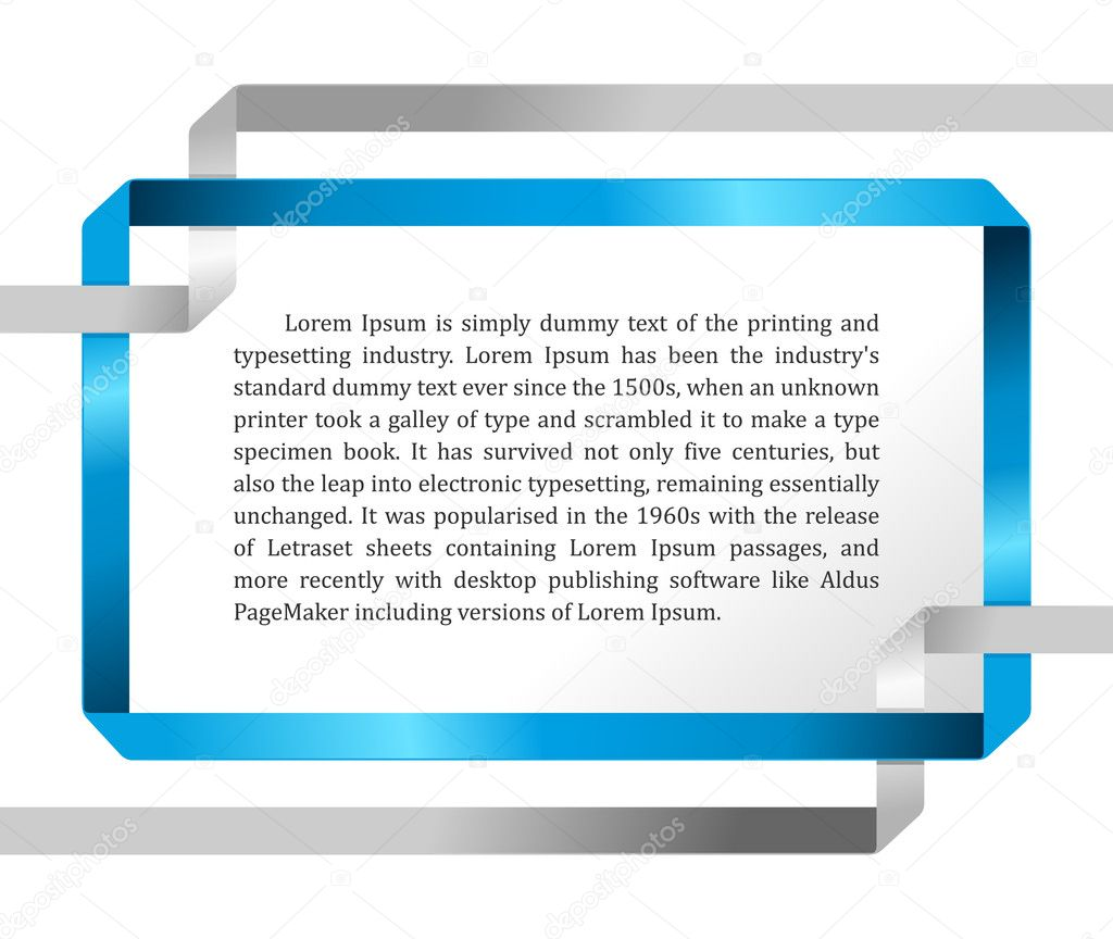 Colour blue frame ribbon abstract on white background