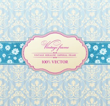 Invitation vintage label flower frame blue