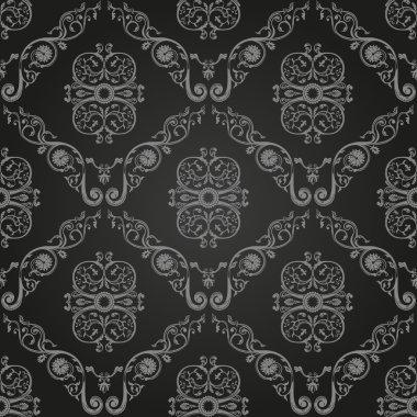 Seamless vintage black wallpaper. Ornament background