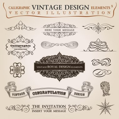 Calligraphic elements vintage Congratulation ribbon