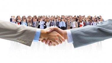Handshake isolated on business background stock vector