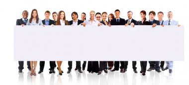 Group of business holding a banner ad isolated on white