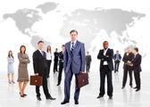 üzletember és csapata több, mint egy fehér háttér mintázata elszigetelt