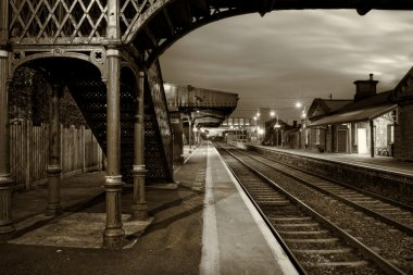 Railway Station and Old bridge at night