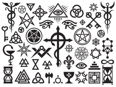 Medieval Occult Signs And Magic Stamps, Locks, Knots (with Additions) stock vector