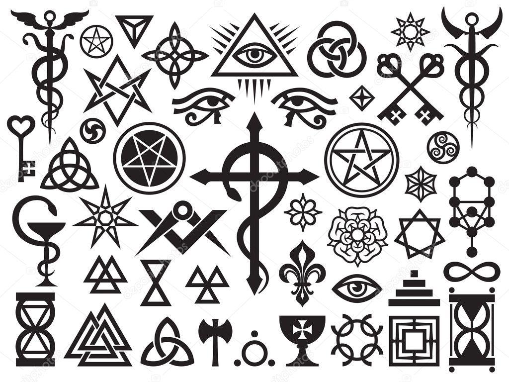 Middeleeuwse Occulte Tekenen En Magische Stempels Stockvector