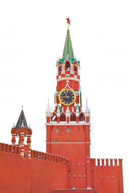 Spasskaya tower in Kremlin (Moscow) isolated on white
