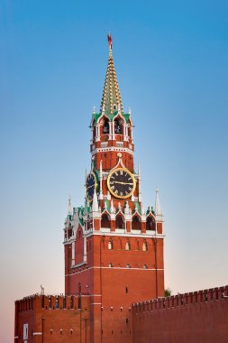 Spasskaya tower in Kremlin (Moscow) at sunset