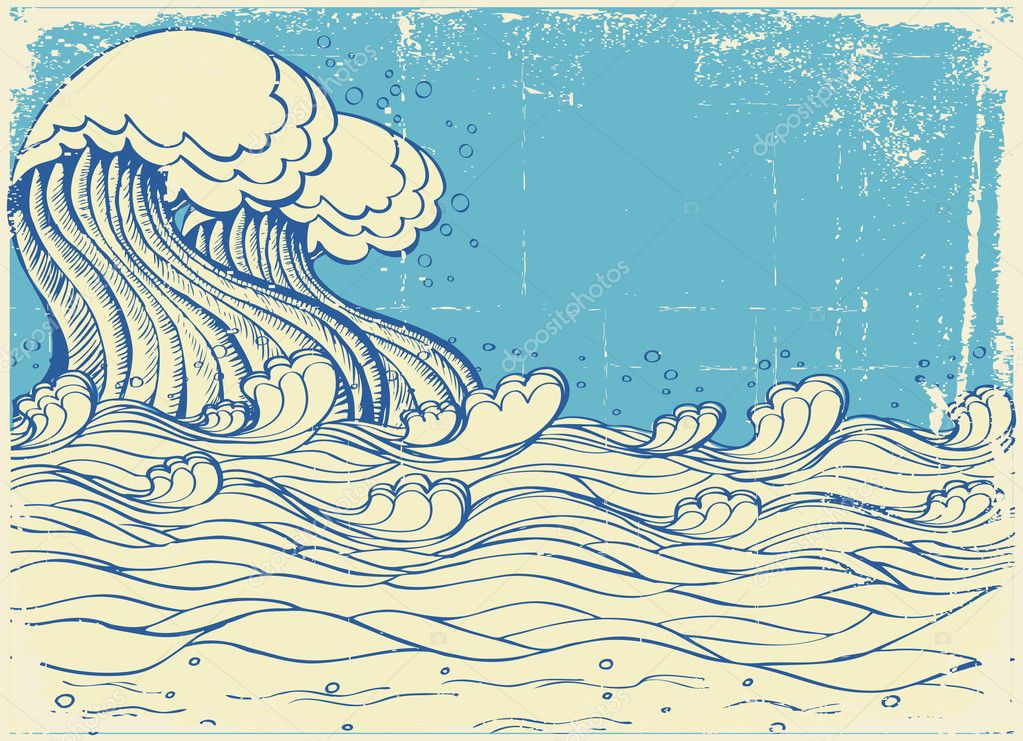 Huge wave in sea.Vector grunge illustration